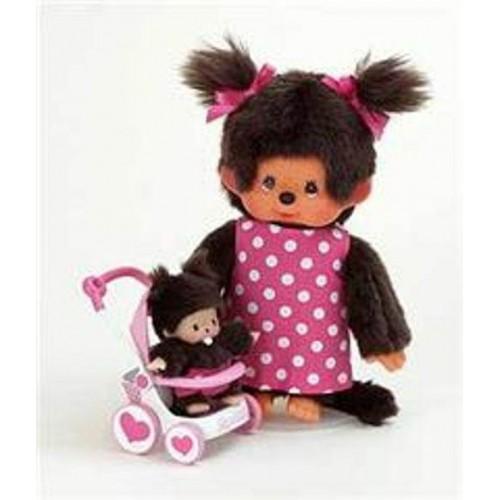 Monchhichi - Moeder met kind in wandelwagen - Monchhichi - Poppen