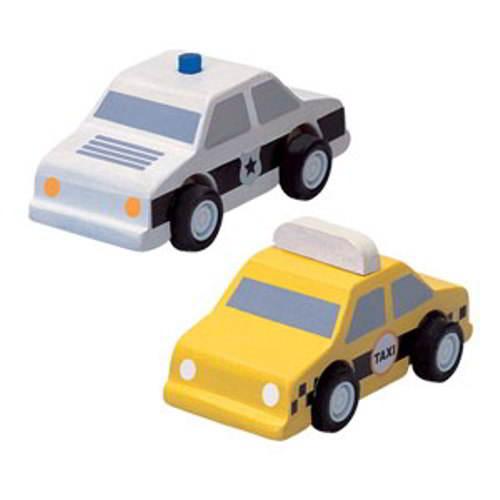 Plan Toys - Taxi en Politieauto - Plan Toys - Alles wat rijd
