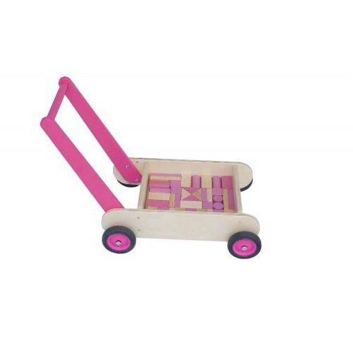 Van Dijk Toys - Blokkenwagen-Loophulp roze met blokken - van Dijk Toys - Karren en Wagentjes