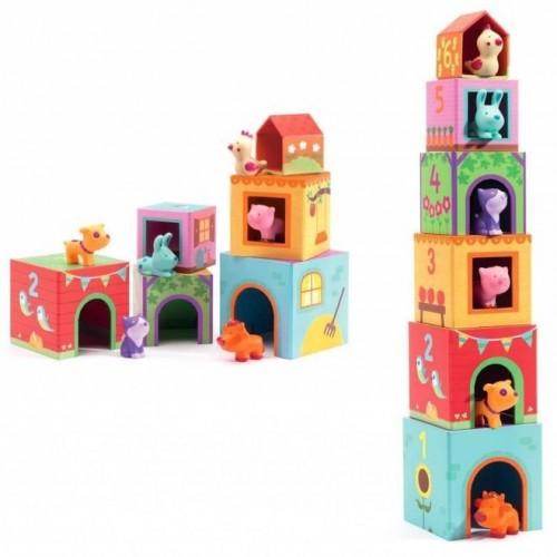 Djeco - Stapelblokken Topanifarm- Vanaf 1,5 jaar - Djeco - Babyspeelgoed